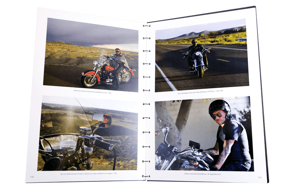 livre photos johnny hallyday ouvert motos